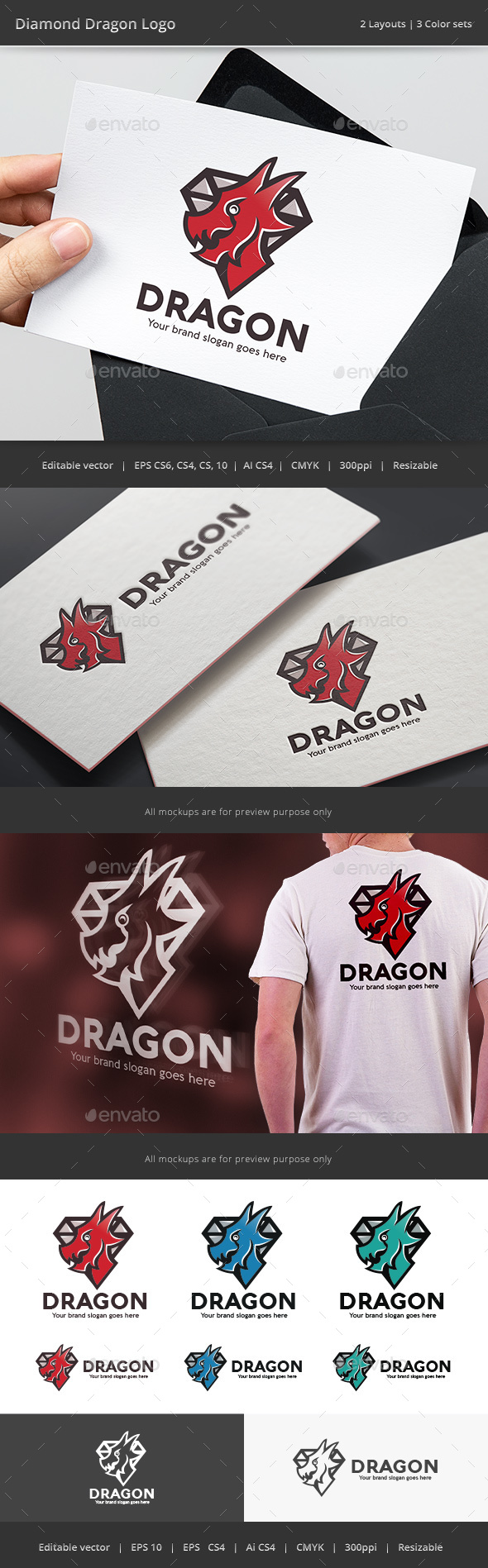 Diamond Dragon Crest Logo - Crests Logo Templates