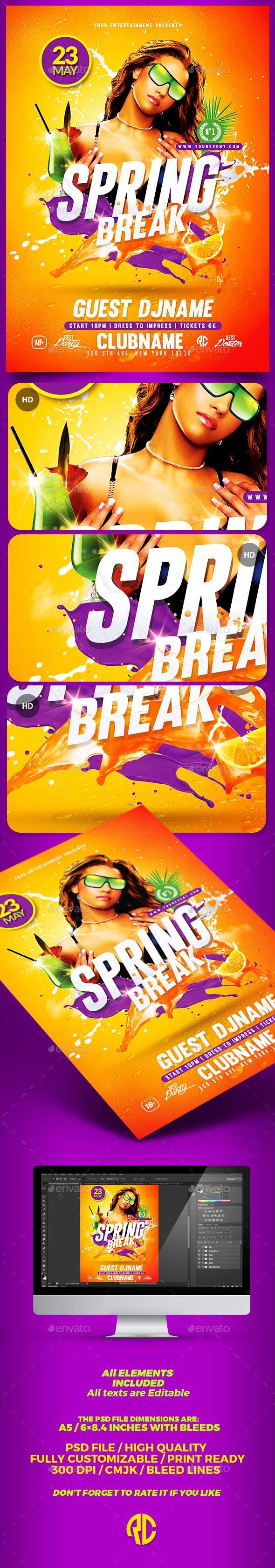 Spring Break Flyer | Psd Template  - Print Templates
