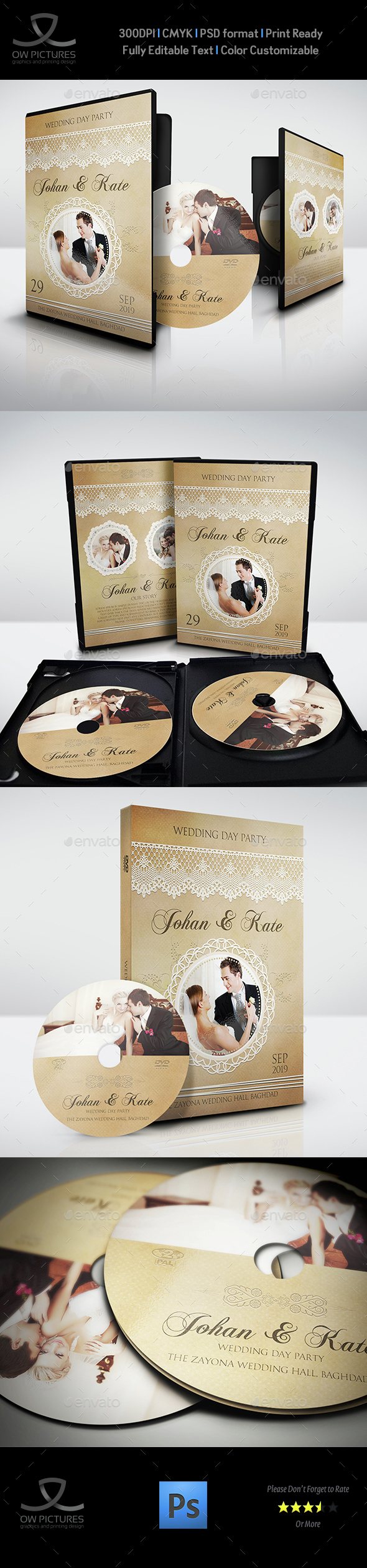 Wedding DVD Cover and DVD Label Template Vol.6 - CD & DVD Artwork Print Templates