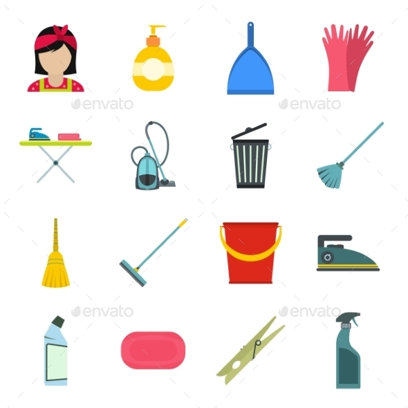 Cleaning Flat Icons - Miscellaneous Icons