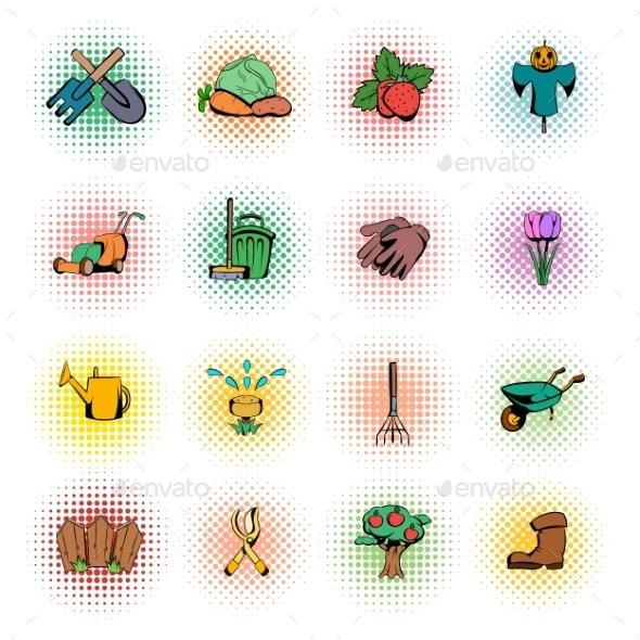 Garden Comics Icons Set - Miscellaneous Icons