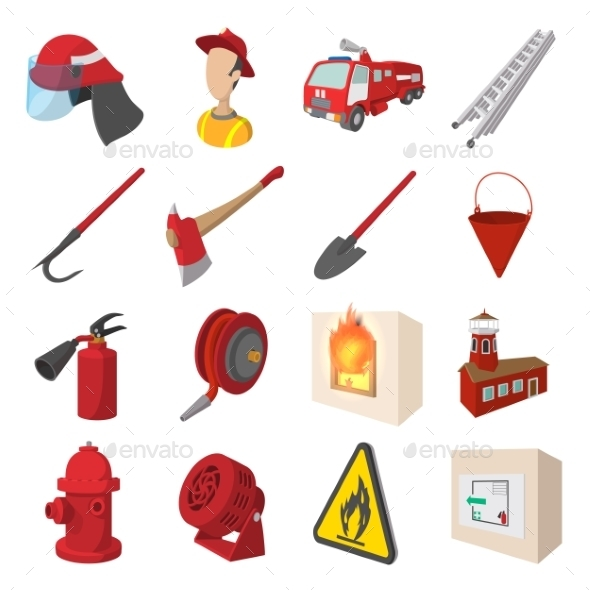 Firefighter Cartoon Icons Set - Miscellaneous Icons