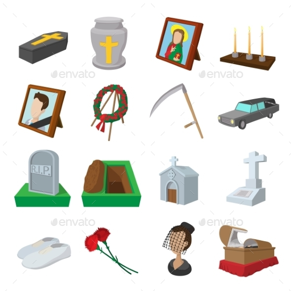 Funeral And Burial Cartoon Icons - Miscellaneous Icons