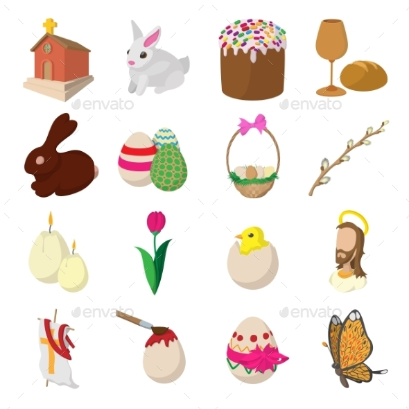 Easter Cartoon Icons - Miscellaneous Icons