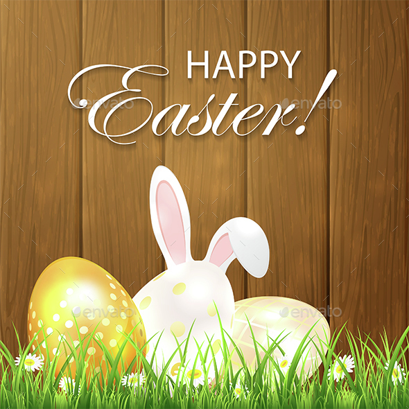 Easter Background with Eggs and Rabbit on Wooden Background - Miscellaneous Seasons/Holidays