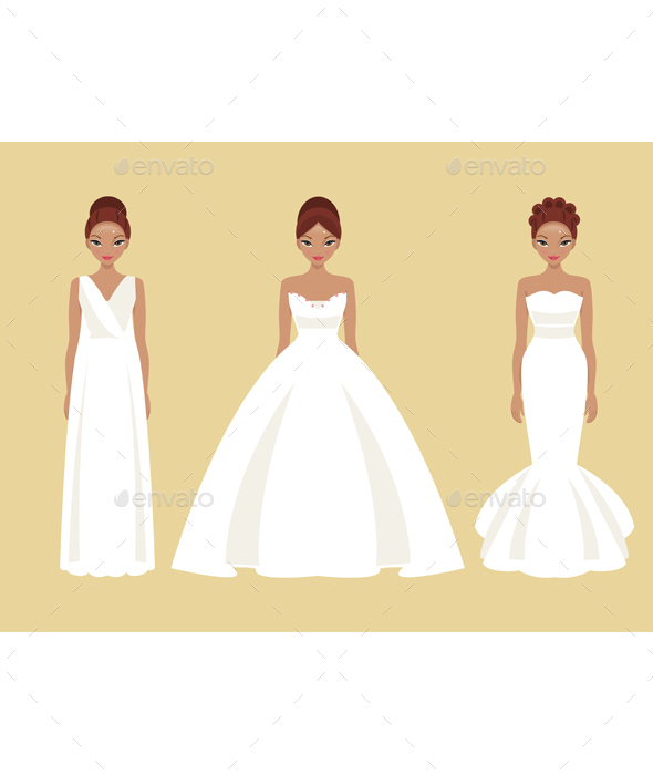 Girl in Different Wedding Dresses by artbesouro | GraphicRiver