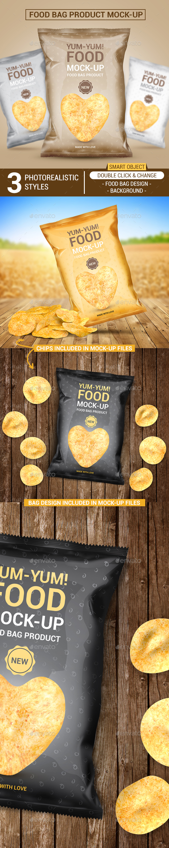 Food Bag Product Mock-Ups - Food and Drink Packaging