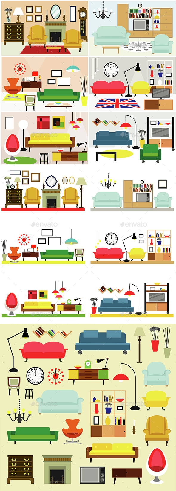 Living Rooms with Furniture - People Characters