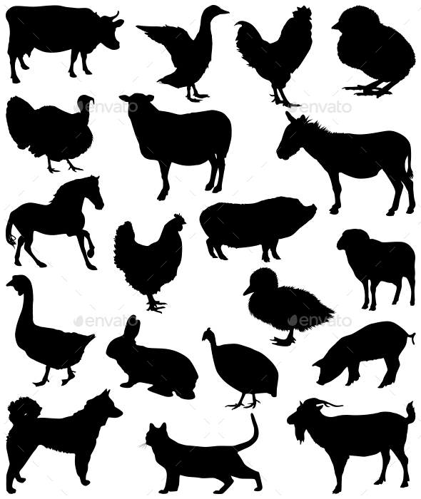 Farm Animal Silhouettes - Animals Characters