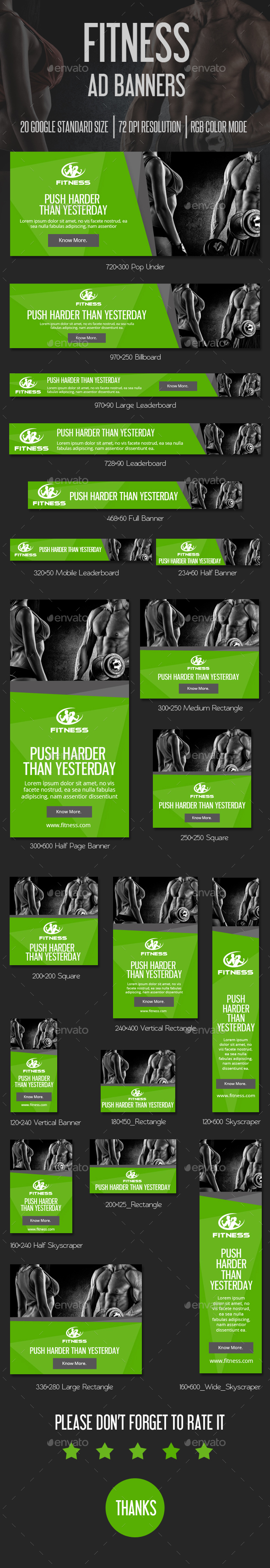 Fitness Banner Ads - Banners & Ads Web Elements