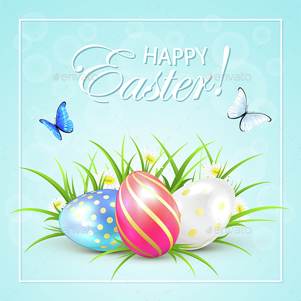 Easter Eggs and Butterflies on Blue Background - Miscellaneous Seasons/Holidays