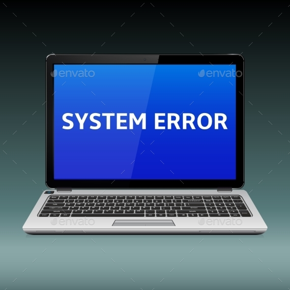 Laptop with System Error Message on Blue Screen - Computers Technology