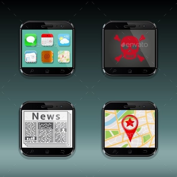 Mobile Phones Apps Icons - Travel Conceptual