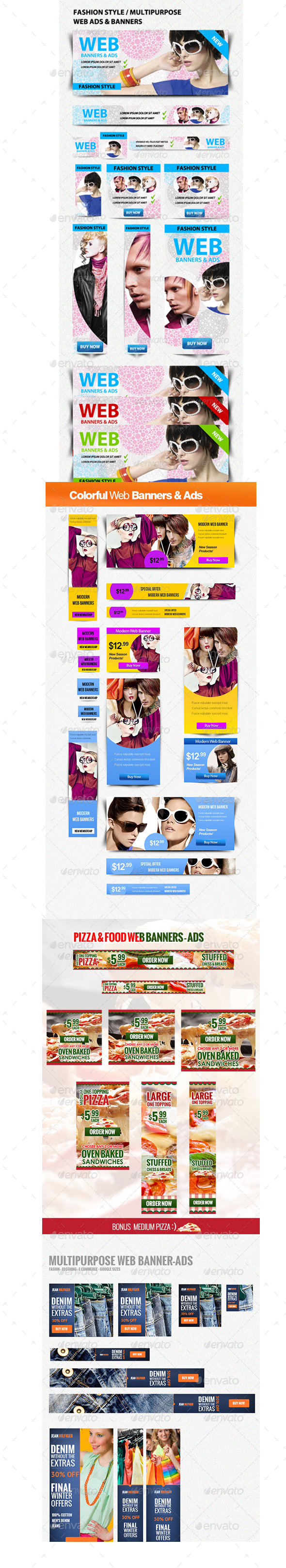 50 Web Ads-Banners Bundle - Banners & Ads Web Elements