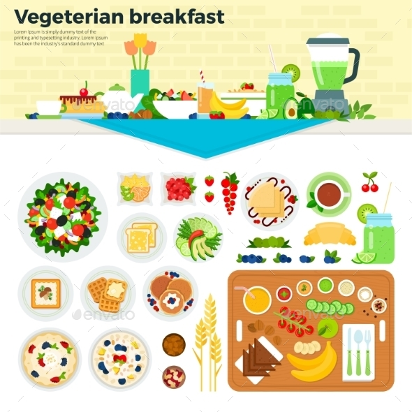 Vegetarian Breakfast On The Table - Food Objects