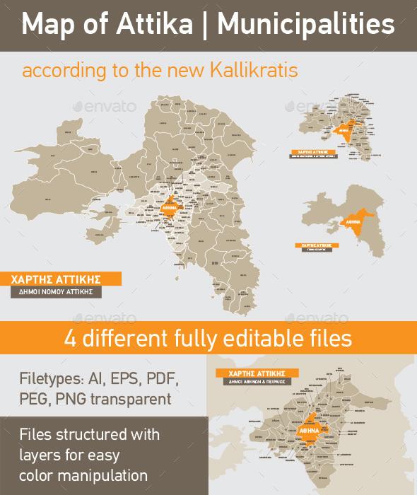 Map of Attika Municipalities According to the New Kallikratis Division - Miscellaneous Vectors