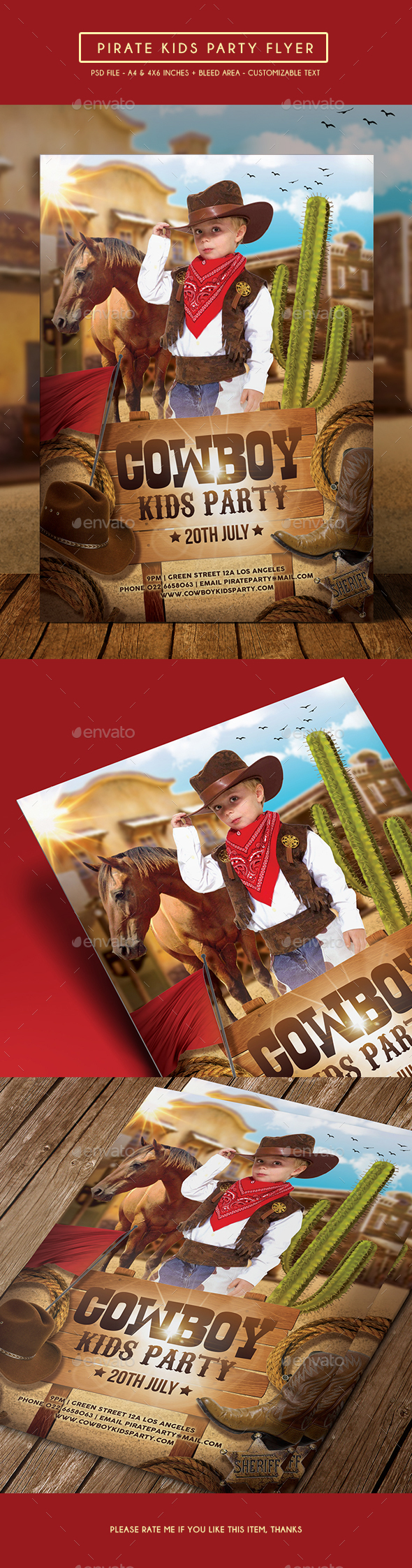 Cowboy Kids Party Flyer - Clubs & Parties Events