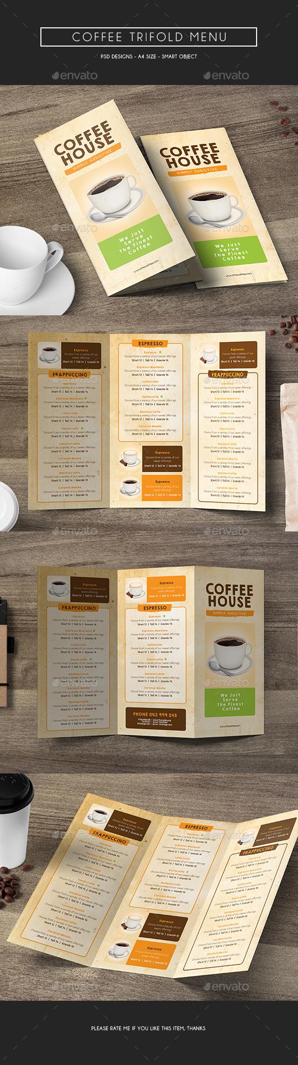 Coffee Trifold Menu - Food Menus Print Templates