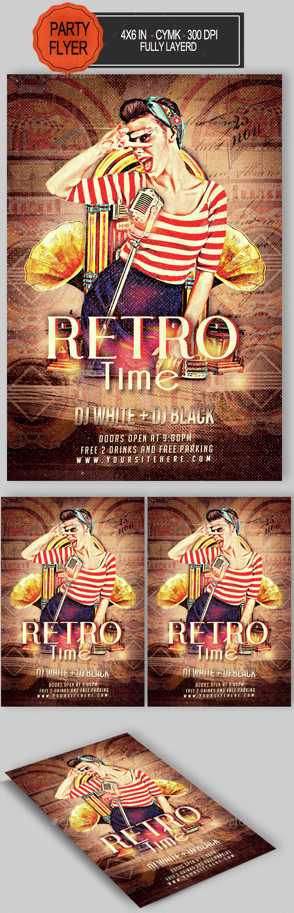 Retro Time Party Flyer - Clubs & Parties Events