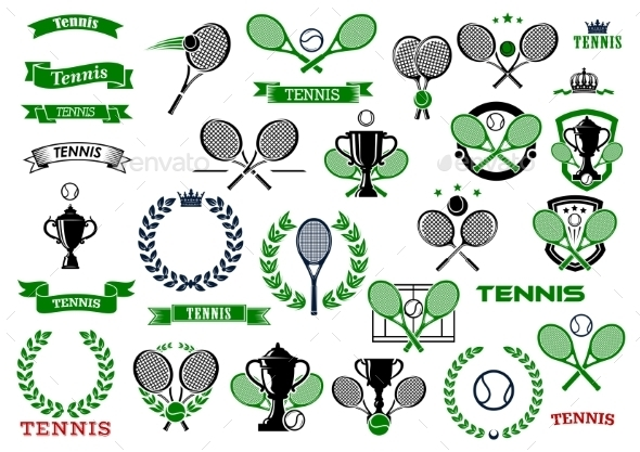 Tennis Sport Game Icons And Symbols - Sports/Activity Conceptual