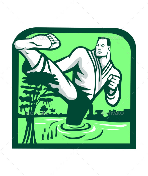 Martial Arts Fighter Kicking Cypress Tree Retro - Sports/Activity Conceptual