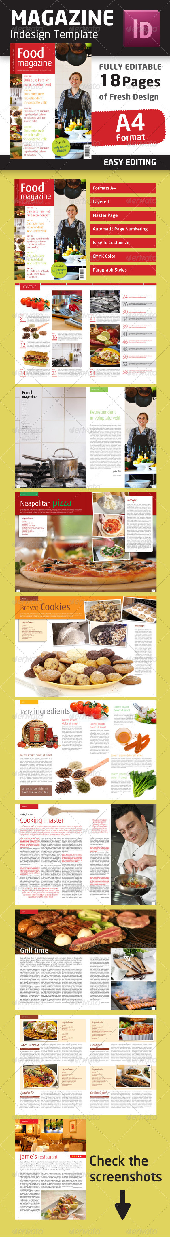 Indesign Food Magazine Template in A4 format - Magazines Print Templates