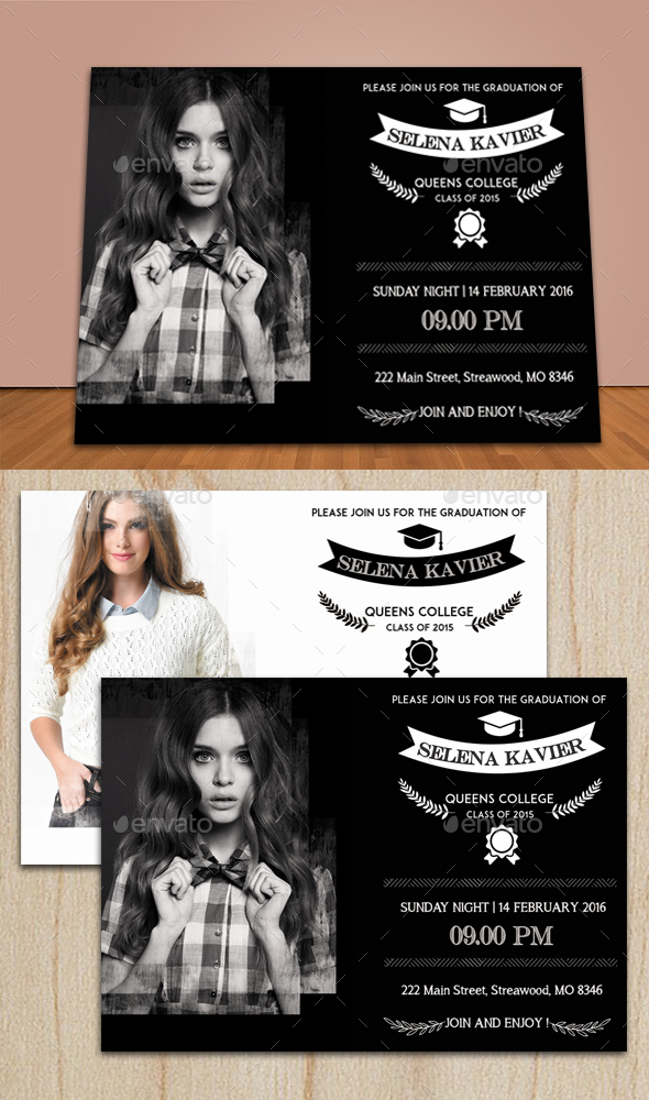 Graduation Invitation Card 3 - Cards & Invites Print Templates