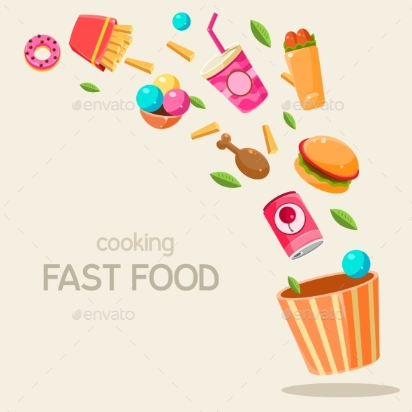 Flying Fast Food Vector Illustration - Food Objects