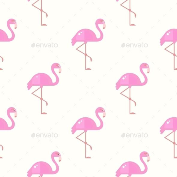 Flamingo Bird Background. Retro Seamless Pattern - Backgrounds Decorative
