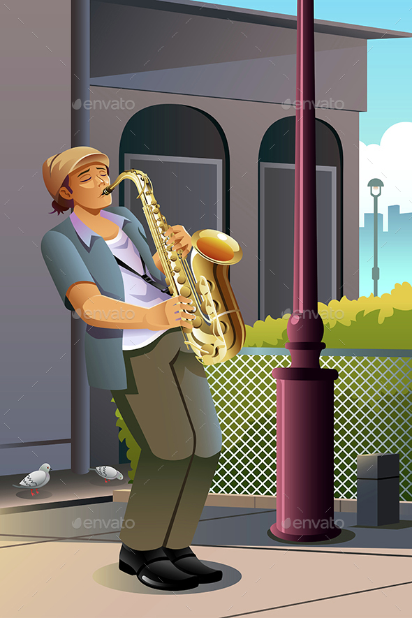 Man Playing Saxophone - People Characters