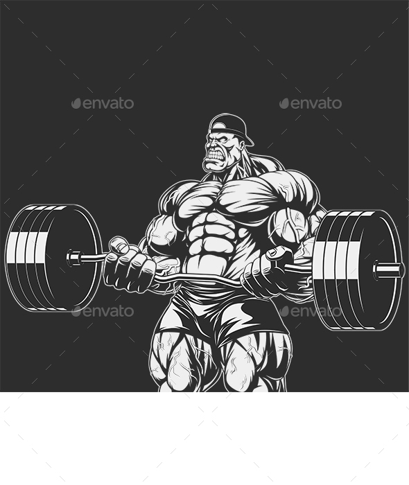 Bodybuilder with barbell  - Sports/Activity Conceptual