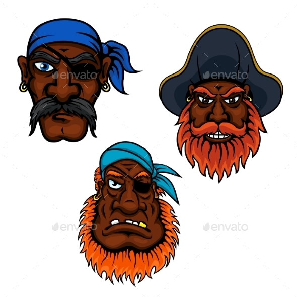 Sailor And Captain Pirates Heads - People Characters