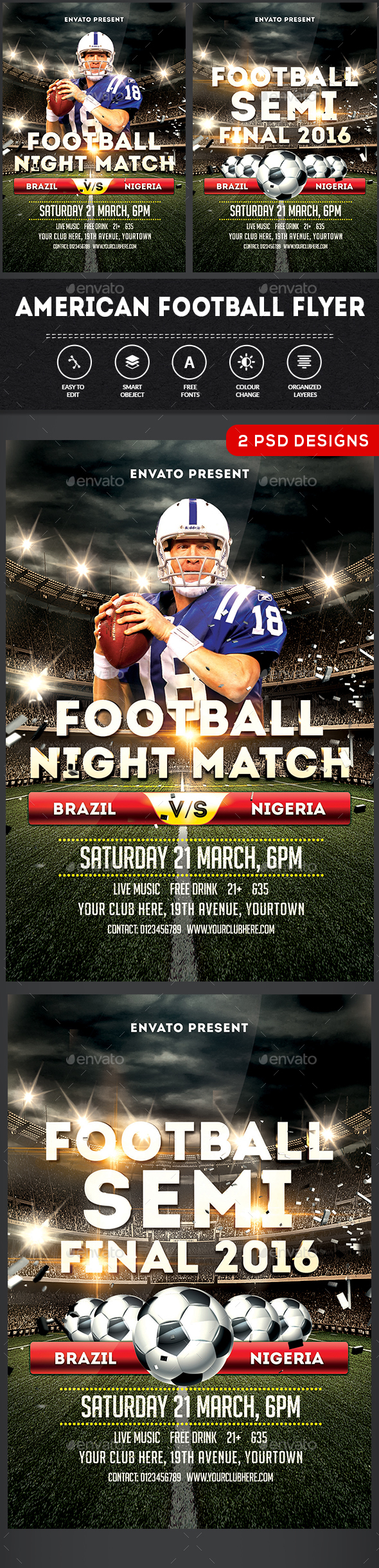American Football Flyer Template - Clubs & Parties Events