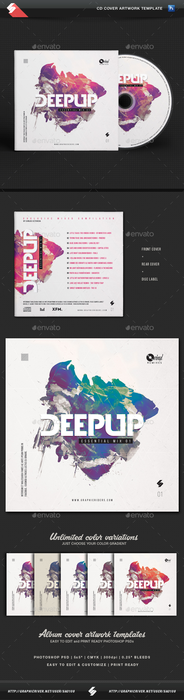 Deep Up - Dj Mix CD Cover Artwork Template - CD & DVD Artwork Print Templates