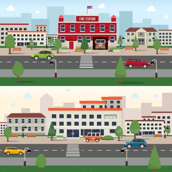Municipal Buildings Banner Set - Buildings Objects