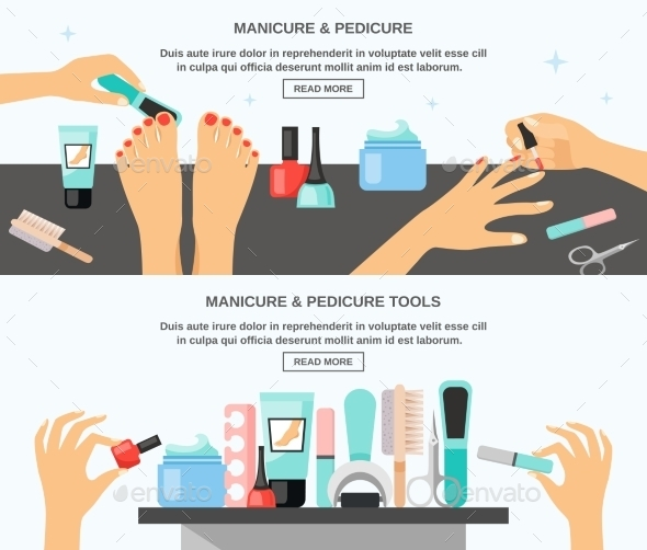 Manicure Pedicure Accessories 2 Flat Banners - Miscellaneous Conceptual