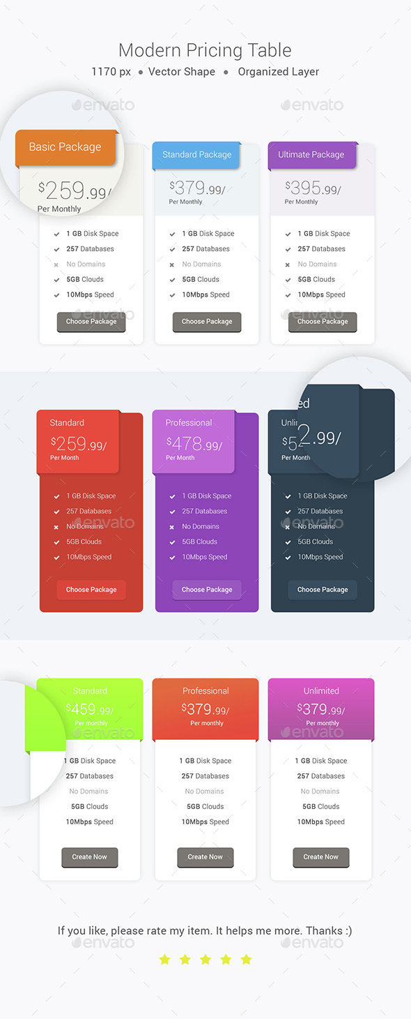 Modern Pricing Table - Tables Web Elements