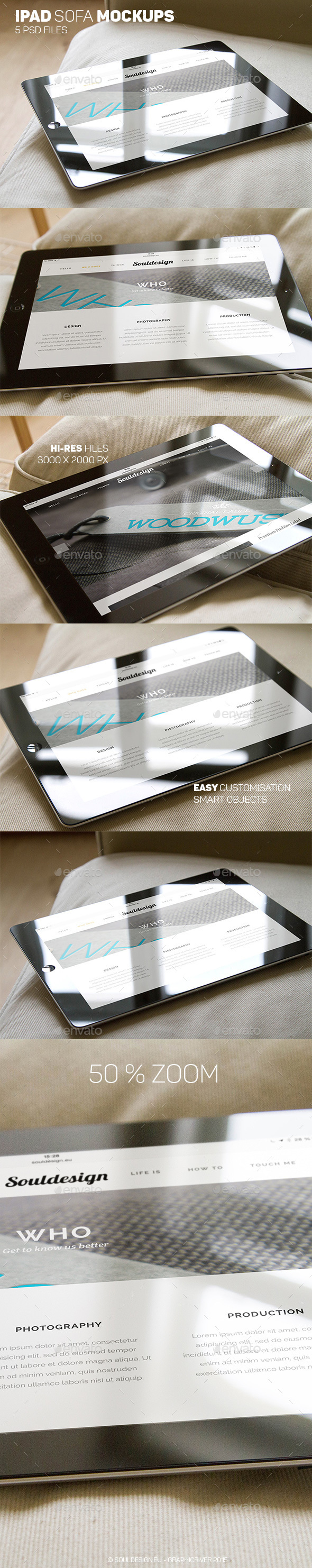 iPad Closeup Mockups Sofa - Mobile Displays