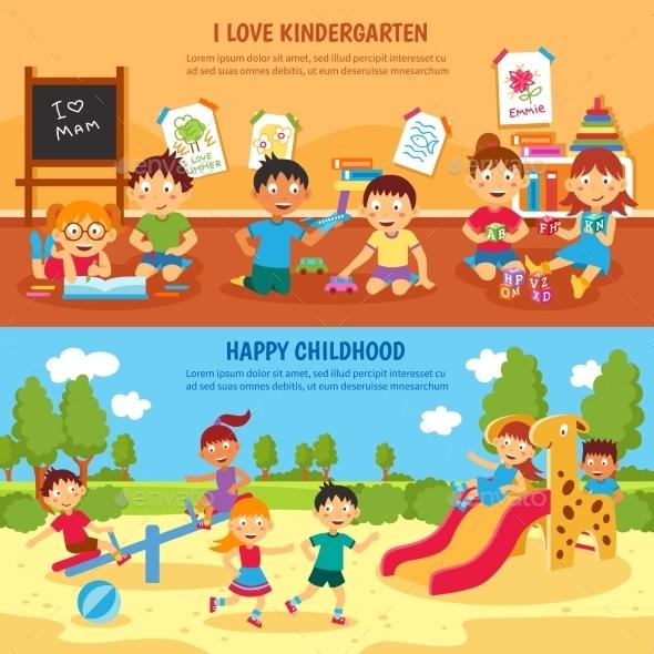 Kindergarten Banner Set - People Characters