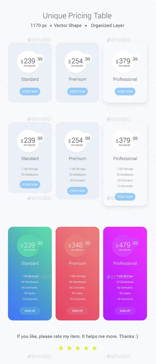 Unique Pricing Table - Tables Web Elements