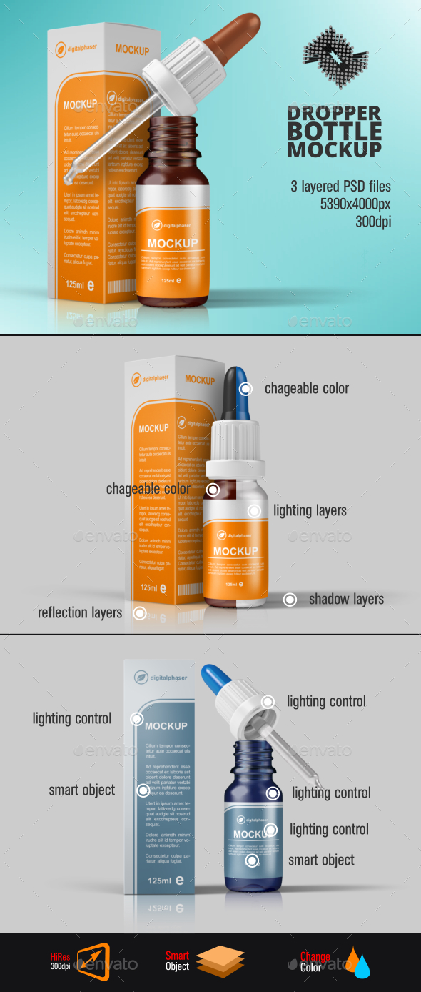 Dropper Bottle & Box Mockup - Packaging Product Mock-Ups