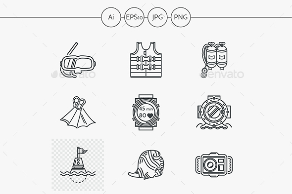 Diving black linear vector icons set - Man-made objects Objects