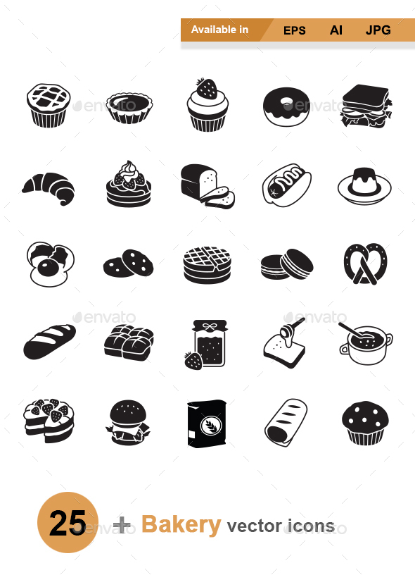 Bakery vector icons - Man-made objects Objects