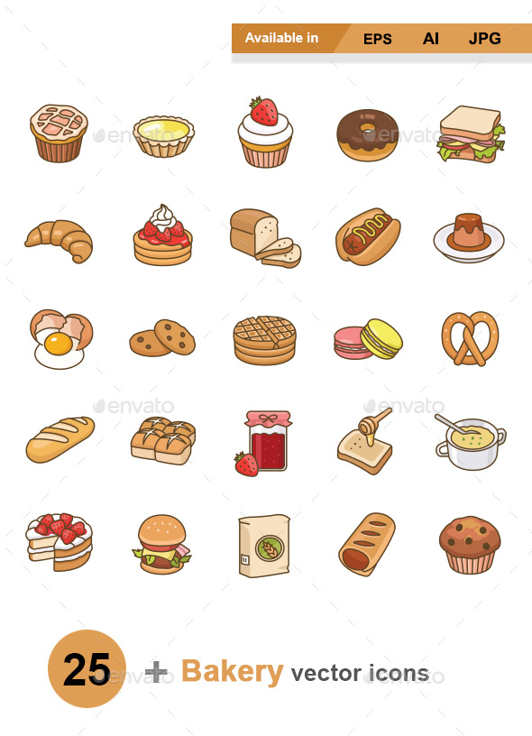 Bakery color vector icons - Man-made objects Objects