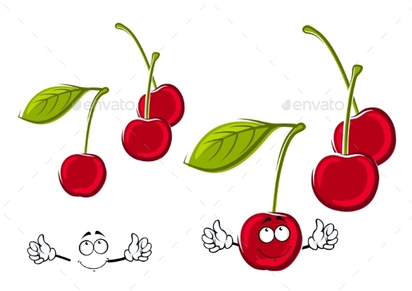 Cartoon Juicy Red Cherries Fruits - Food Objects