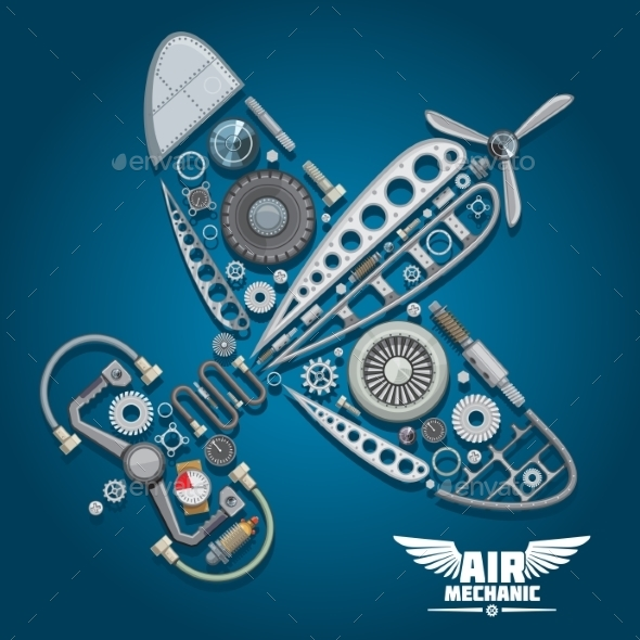 Air Mechanic Design With Propeller Airplane  - Travel Conceptual