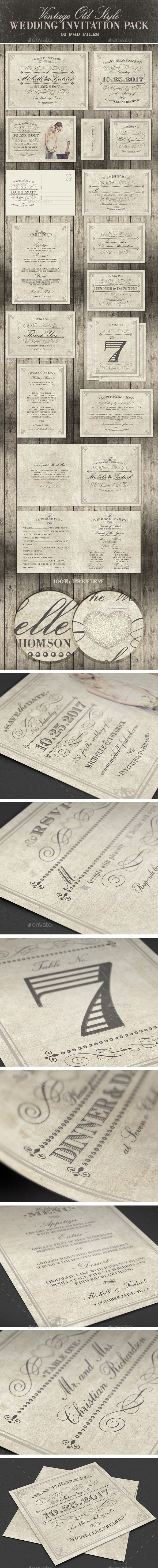 Wedding Invitation Package - Vintage Old Style - Weddings Cards & Invites