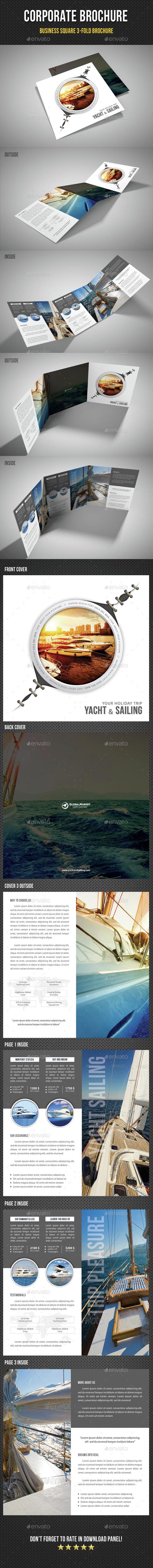 Yacht Boat Sailing Square 3-Fold Brochure 04 - Brochures Print Templates