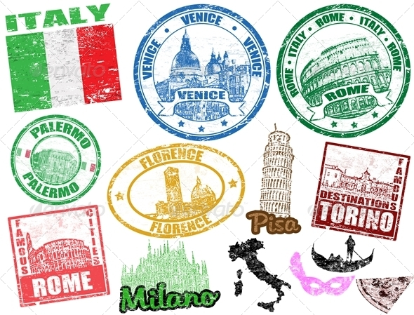 Stamps with Italy - Travel Conceptual