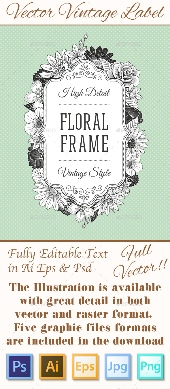 Vector Vintage Flower Label - Flowers & Plants Nature